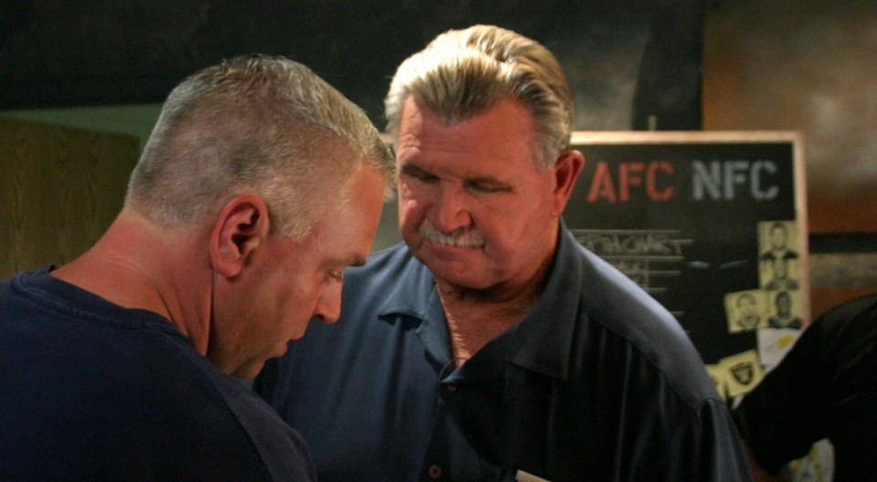 Wiring up ESPN analysts Mike Ditka for a commercial