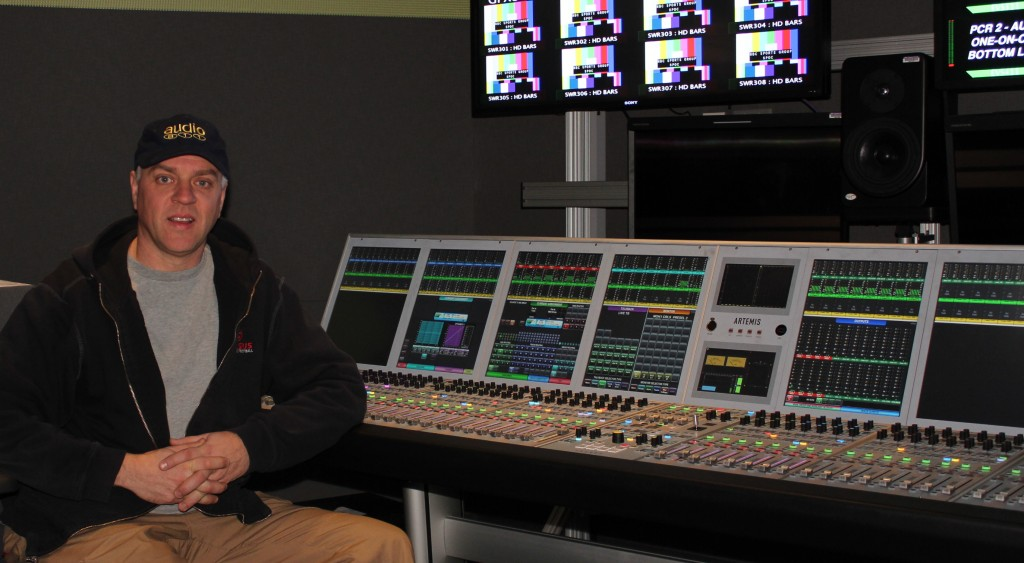 64 fader surface CALREC Artemis console in ACR3 at NBC Sports Network