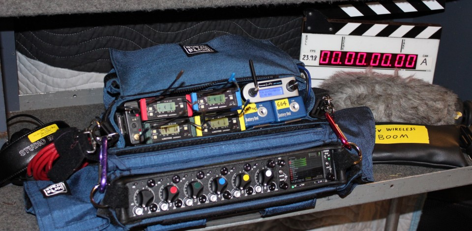 Sound Devices 664 with Lectros, TC Buddy, and slate